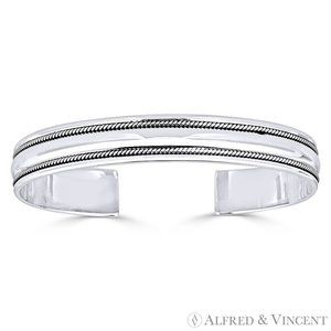 Open Cuff Adjustable Bangle in.925 Sterling Silver